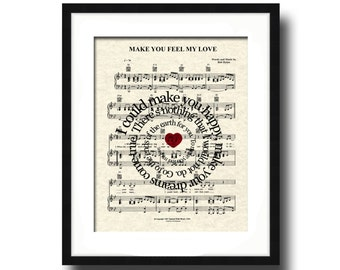 Make You Feel My Love Spiral Song Lyric Sheet Music Art Print, Love Song Art Print, Custom wedding, anniversary, name and date