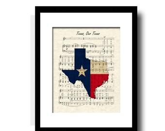 Texas Our Texas Sheet Music Art Print, Texas Art Print, Texas Flag Art Print, Texas Map Art, Texas State Song Art