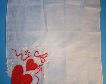 Vintage VALENTINE Handkerchief, Bows and Hearts, 1950's
