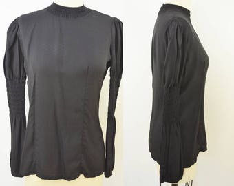 Vintage Ladies Black Blouse With Ruched Sleeves Zipper Back Goth Girl Tunic TOp