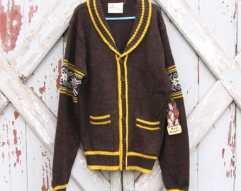 Hush Puppies 1970's boy's cardigan NWT L