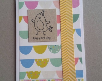 Happy Bird-day - handmade card with yellow ribbon trim - blank inside