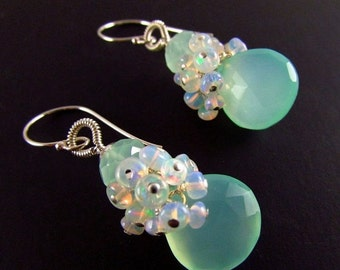 25OFF Aqua Chalcedony and Ethiopian Opal Sterling Silver Cluster Earrings