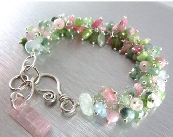 25% Off Afghan Tourmaline With Sterling Silver Cluster Bracelet