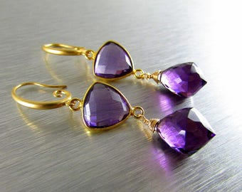 Purple Quartz Wire Wrapped Gold Filled  Earrings
