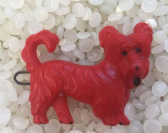 vintage barrette, bright red dog ,vintage children's barrette