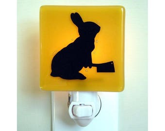 Funny Bunny Night Light - Rabbit Gift - Hand Painted Glass