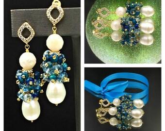 London Blue Topaz Pearl Earrings Ivory Freshwater Pearl Ethiopian Opal Cluster Wire Wrap Earring Pearl Topaz Opal Black Tie Earrings