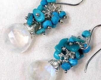 30% SALE Turquoise Cluster Earrings Rainbow Moonstone Gemstone Wire Wrap Cluster Sleeping Beauty Turquoise Nuggets, Sterling Silver Earrings