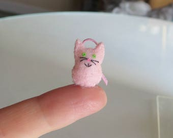 Pink Cat micro miniature felt stuffed animal plush toy - collectible and dollhouse toy
