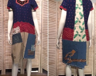 Upcycled Dress Lonesome Bird Appliqué patchwork Upcycled Clothing Loose Fit Primitive Vintage India Dress Rustic Tunic DeviDesigns L XL
