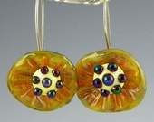 golden and iridescent earrings iridescent glass and goldstone accents lampwork & sterling silver handmade