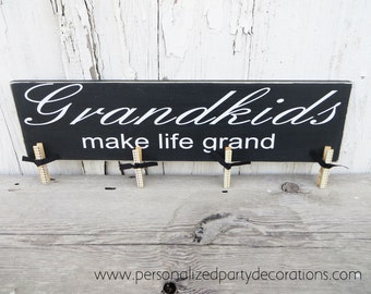 Grandkids Make Life Grand Picture Hanger, Grandparent Brag Board In Black- Ready To Ship