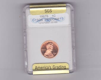 1997 S Lincoln penny  graded PR70 CAM  BY S.G.S.
