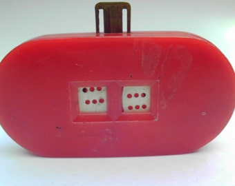 Vintage Dice Spinning Wheels Hand Held Game Red Plastic Push Button to Roll Dice
