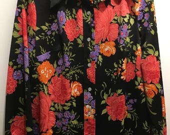 Flower power polyester button shirt.