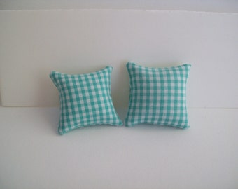 "Miniature 1 1/4"" square Green Checked pillow pair"