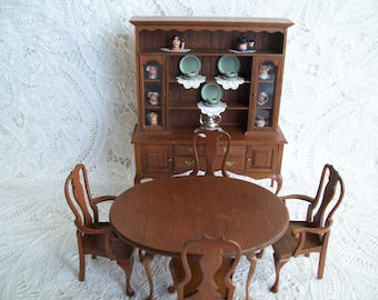 Miniatures, one inch scale, hand made Oval Table and 4 Chairs by Miners in 1980