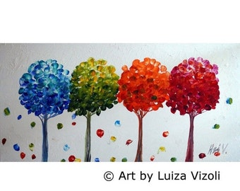 Abstract Art FOUR SEASONS Modern Oil Painting Red Blue Green Orange White 48x24 Large Canvas Ready to Ship