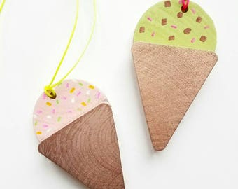 Ice Cream Necklace - Hand Painted wood shapes - Adult or Kids