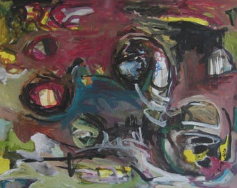Modern Abstract Landscape Painting, red yellow blue art, abstract expressionism painting, landscape, abstract landscape