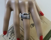 Swan Ring Silver OX Adjustable Wrap Detailed Wings