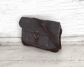 RESERVE LISTING for MICHELE Gray Waxed Canvas & Leather Messenger Bag, Medium Cross Body Purse, Shoulder Bag