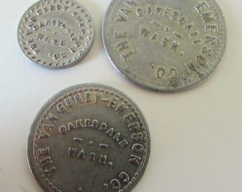 Antique Tokens Oakdale Washington Gundy Emerson Oakdale Wash 5 cent 50 cent and 1 dollar Merchandise Token Vintage