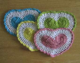 4 Crocheted Country Heart Dishcloths - Spring Zing