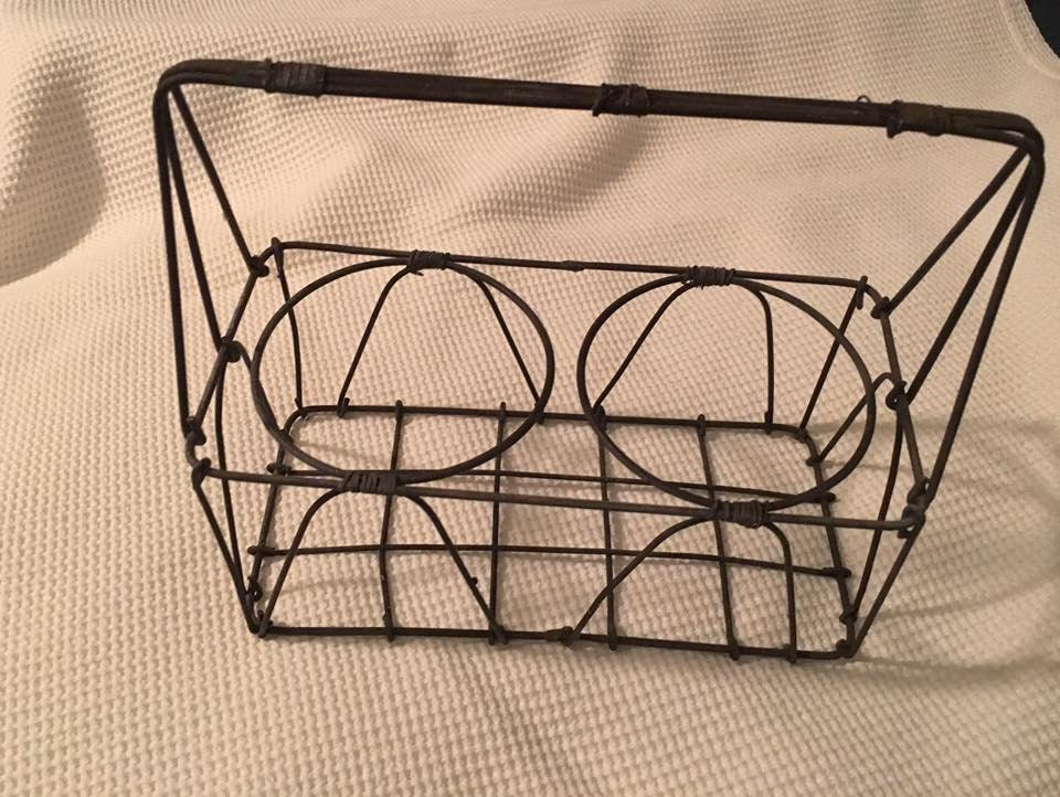 French vintage industrial metal wine milk bottle carrier - Wire wine bottle carrier ...