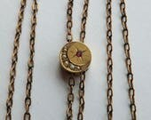 Victorian Moon and Star Seed Pearl GF Watch Slide Chain Necklace Swivel Clasp
