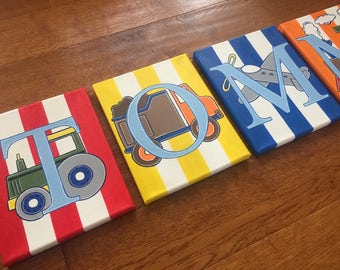 "8"" x 10"" Personalized Name Wall Letters Bedding Transportation Construction Train Tractor Boat Canvas Art Boys Room Decor (price per letter)"