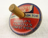Vintage Cracker Jack Tin Spinning Top Toy with Wooden Peg