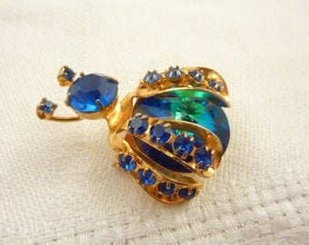 Antique Weiss Rivoli Peacock Crystal Insect Brooch