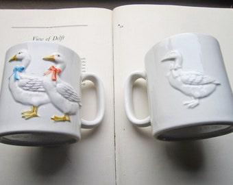Vintage Otagiri Takahashi Geese Mugs * 1980's Coffee Mugs * San Francisco Import * Embossed Porcelain * Country Kitchen * Pair * Matching