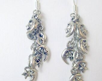 Moons and Stars chandelier earrings, silver metal charms dangle earrings, moon earrings, stars earrings, holiday earrings, boho retro
