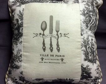 French  Bon Appetit Spoon, Fork Knife Linen Print with Black Toile, French Country, French Farmhouse Decor, Burlap Backing, French script