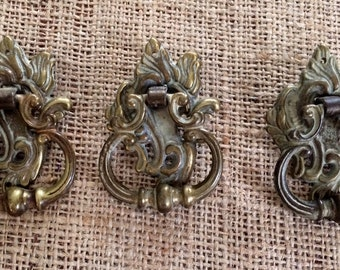 Restoration Hardware|French Provincial Furniture Pulls | Replacement Hardware | French Hardware | Upcycled Pulls |Vintage Antique Ring Pulls