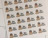 28 Vet Visit Stickers, Planner Stickers, Vet Appointment Dog Stickers, Shown In An Erin Condren Life Planner, Stickers, Small Stickers
