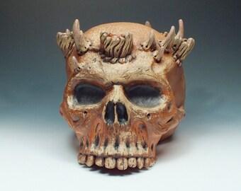 Candelabra, wood fired skull
