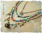 Bohemian Jewelry, Colorful Layered Beaded Necklace, Modern Hippie, Urban Gypsy, Boho Chic, Boho Style Me, Kaye Kraus