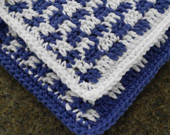 Two Crochet Cotton Dishcloths, Blue and White Gingham, Square Dishcloth, Kitchen Dishrag, Small Dishcloth, Cottage Dishcloth Blue Dish Cloth