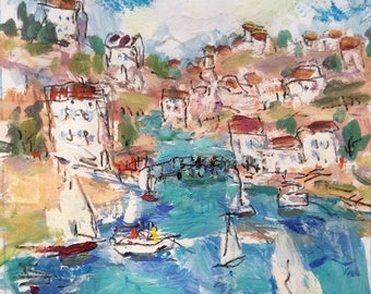 Abstract Whimsical Expressionist Sea coast  painting, 11 x 14 , sailboats, cove, sea, ocean, expressive impressionist  painting, seaport