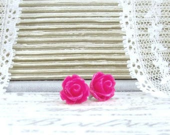 Hot Pink Earrings Pink Rose Studs Pink Floral Earrings Surgical Steel Studs Pink Flower Earrings