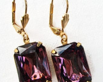 SALE 20% Off Dangle Earrings - Amethyst Purple - Estate Style - Art Deco Jewelry -  WINDSOR Amethyst