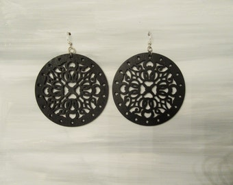 Hand Painted Black Laser Cut Earrings