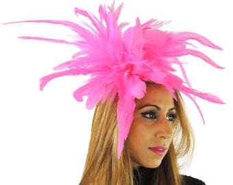 Fluorescent Pink Unstripped Fascinator  Hat for Weddings, Occasions and Parties on a Headband