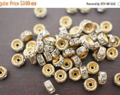 MARCH DEALS Vintage Raw Brass on Clear Crystal Rhinestone Rondelle Spacers (Straight Round) - 4mm - 20 pcs