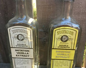 Set of 2-Vintage Watkins Double Strength Imitation Vanilla Extract 11oz each-Collector Bottle