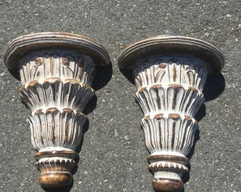Pair of architectural salvage mango wood wall sconces